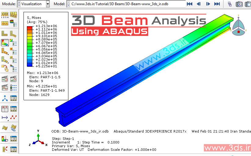 تحلیل تیر سه بعدی با آباکوس