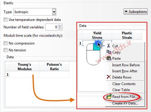 وارد کردن خواص مکانیکی از یک فایل در