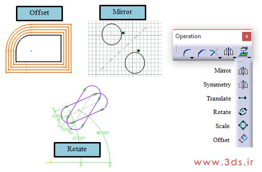ایجاد Mirror و Symmetry و Translate و Rotate و Scale در کتیا با استفاده از جعبه ابزار Operation