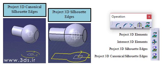 ابزار تصویر نمودن (project) در کتیا با استفاده از جعبه ابزار Operation
