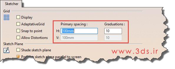 تنظیمات Sketcher در جعبه ابزار Sketch tools کتیا