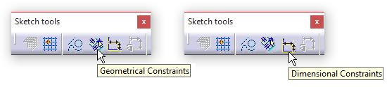 ابزارهای Dimensional Constrains و Geometrical Constrains در جعبه ابزار Sketch tools کتیا