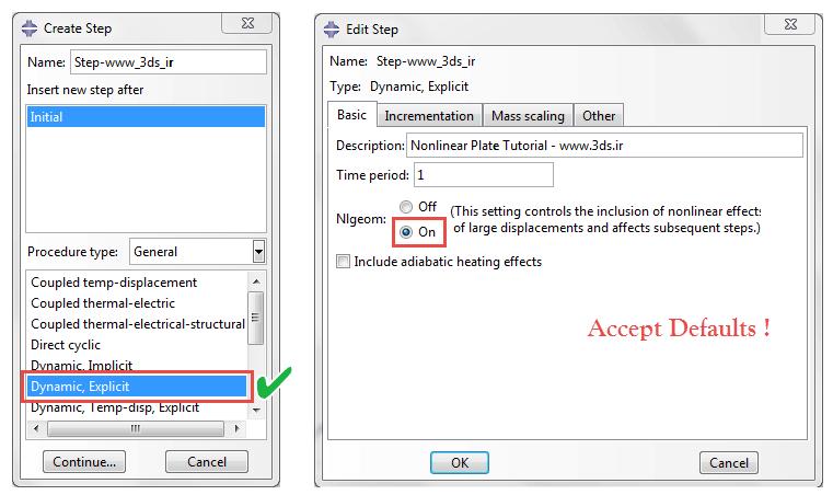 تعریف حلگر از نوع Dynamic, Explicit در آباکوس
