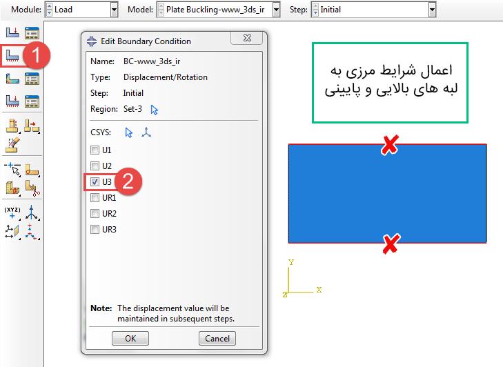 شرط مرزی Displacement/Rotation آّباکوس
