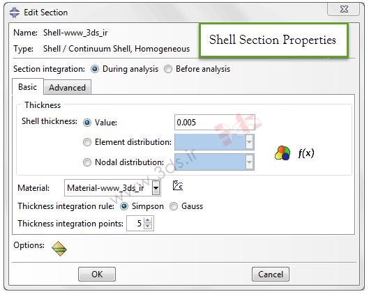 تعریف سطح مقطع Shell در آباکوس