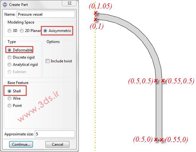 مدلسازی مساله تقارن محوری مخزن استوانهای تحت فشار در abaqus