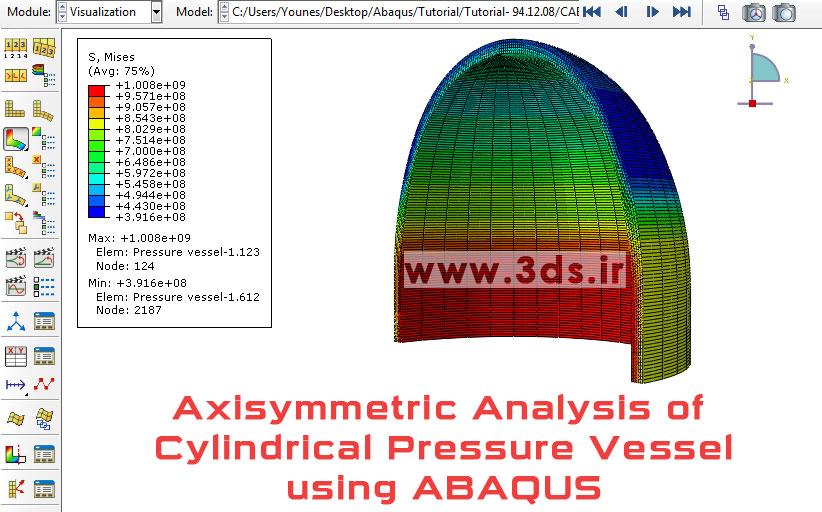 تحلیل تقارن محوری مخزن استوانهای تحت فشار توسط آباکوس