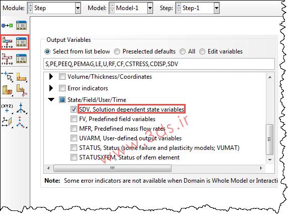 متغیرهای حالت یا solution dependent state variables (SDV) در آباکوس
