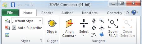 نوارابزار اصلی در نرمافزار 3DVIA Composer