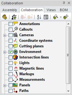 پنل سمت چپ در نرمافزار 3DVIA Composer - سربرگ Collaboration