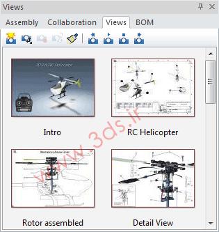 پنل سمت چپ در نرمافزار 3DVIA Composer - سربرگ Views