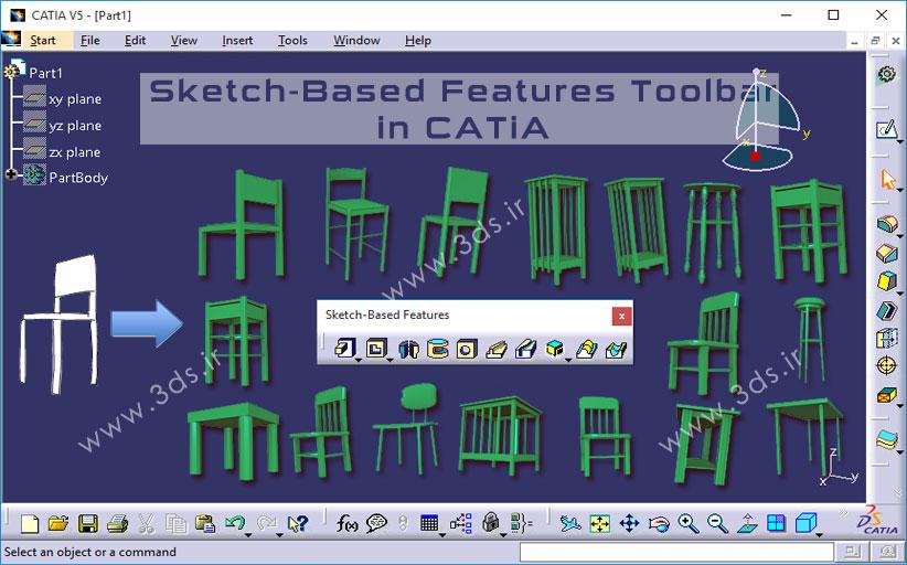 جعبه ابزار Sketch-Based Features در محیط طراحی قطعه Part Design کتیا