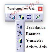 جعبه ابزار Transformation Features کتیا- دستورهای Translation، rotation، symmetry، axis to axis