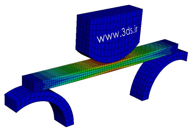 تغییر شکل پلاستیک در نرمافزار آباکوس - تحلیل خمش سه نقطه