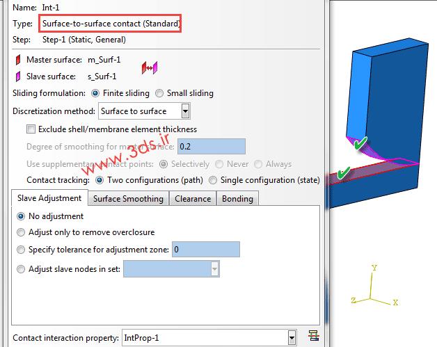 تنظیمات ماژول Interaction در تغییر شکل پلاستیک در آباکوس - خمش سه نقطه