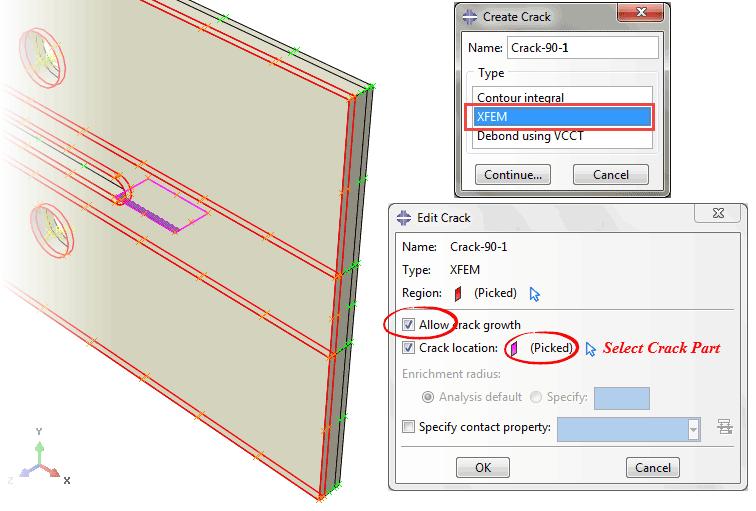 تعریف ترک در آنالیز رشد ترک ورق کامپوزیتی با روش XFEM در نرمافزار ABAQUS