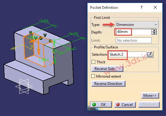 تنظیمات دستور Pocket در نرم افزار کتیا