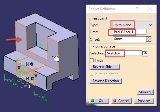 تنظیمات ابزار Pocket در نرمافزار کتیا