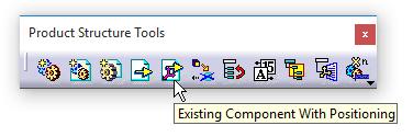 دستور Existing Component with Positioning در جعبهابزار Product Structure Tools کتیا
