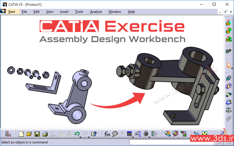 تمرین مونتاژ محصول در محیط Assembly Design کتیا
