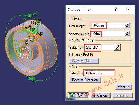 تنظیمات ابزار Shaft از جعبهابزار Sketch-Based Features کتیا