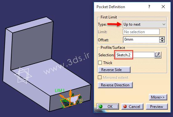 تنظیمات دستور Pocket در کتیا