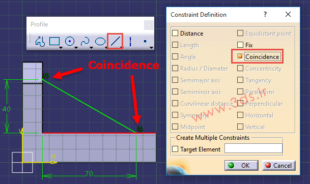 گزینه Coincidence در پنجره ابزار Constraints Defined in Dialog Box کتیا