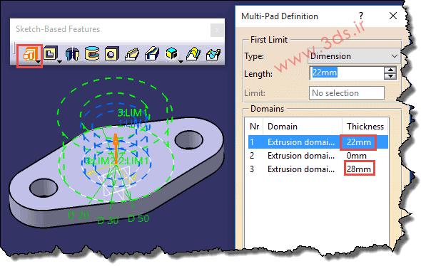 تنظیمات دستور Multi-Pad در کتیا