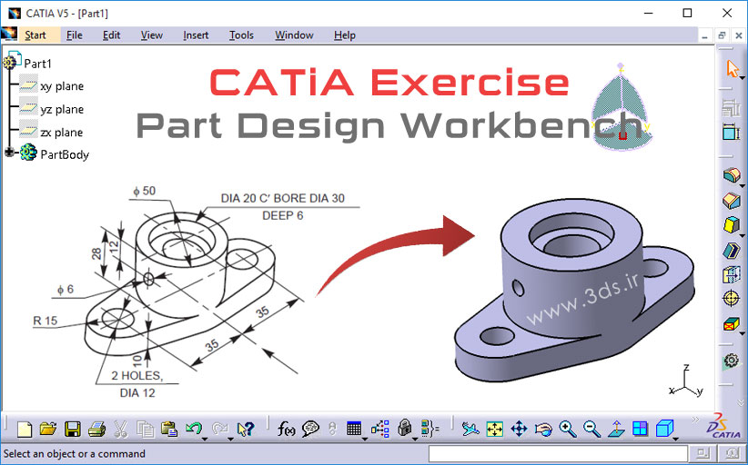 تمرینهای مدلسازی در محیط Part Design کتیا