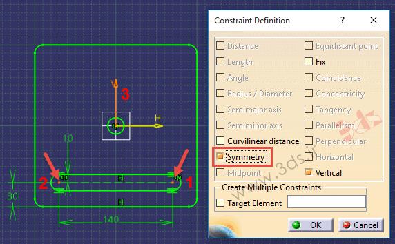 تمرین محیط Sketcher کتیا، ابزار Constraints Defined in Dialog Box حالت Symmetry