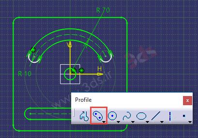 تمرین محیط Sketcher کتیا، ابزار Cylindrical Elongated Hole