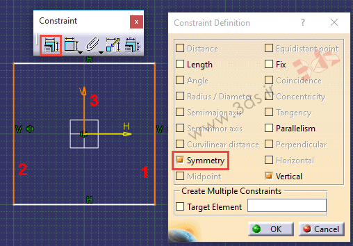 تمرین محیط Sketcher نرمافزار کتیا، ابزار Constraints Defined in Dialog Box