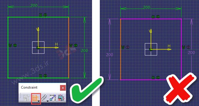 تمرین محیط Sketcher کتیا، ابزار Constraint