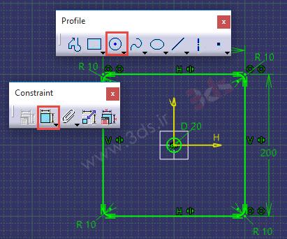 پروژه عملی محیط Sketcher نرمافزار کتیا، ابزار Circle