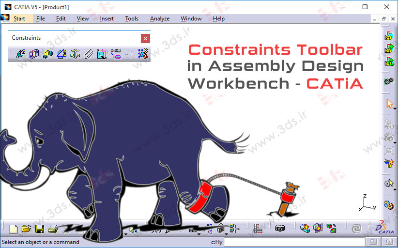 جعبهابزار Constraints محیط Assembly Design کتیا
