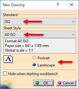 تغییر استاندارد و اندازه صفحه نقشهکشی محیط Drafting کتیا