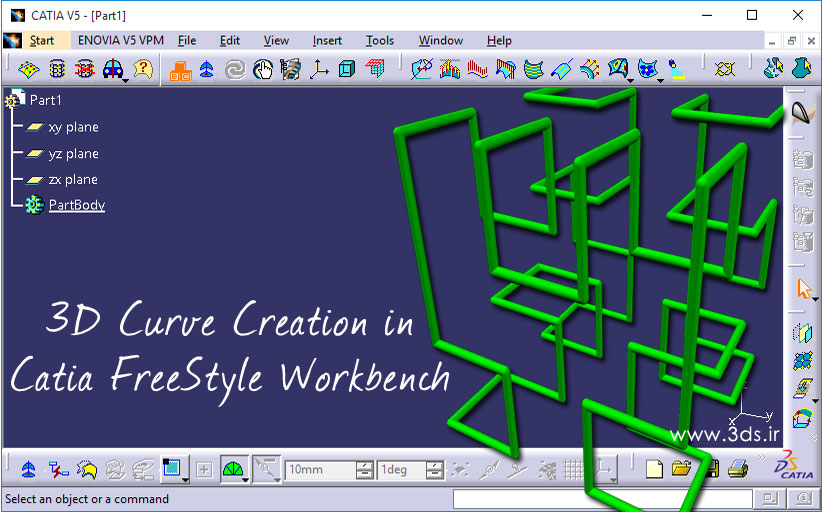 ترسیم منحنی سهبعدی 3D Curve در محیط FreeStyle نرمافزار کتیا