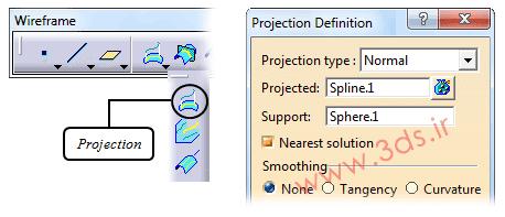 ابزار Projection در محیط Generative Shape Design نرمافزار کتیا