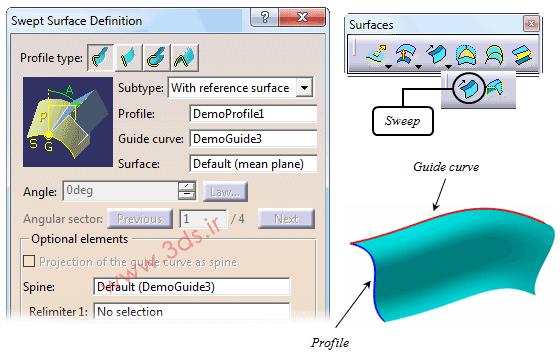 تنظیمات دستور Sweep در محیط Generative Shape Design نرمافزار کتیا