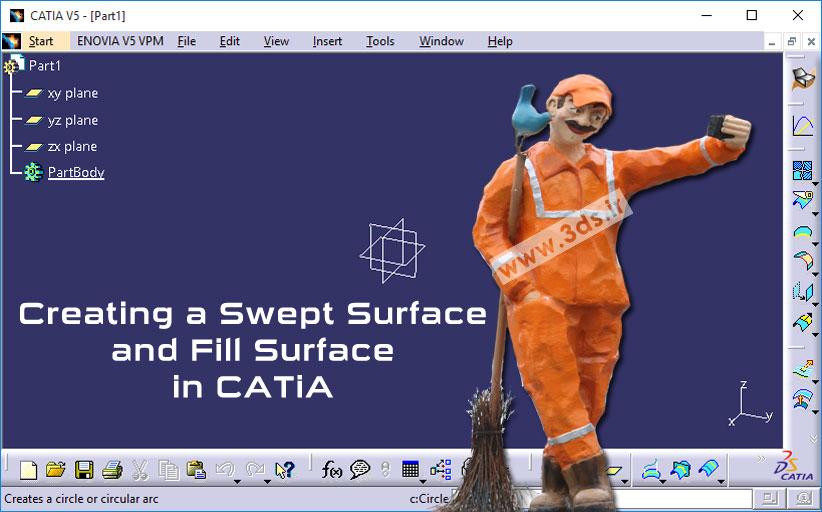 ابزارهای Sweep و Fill در محیط Generative Shape Design کتیا