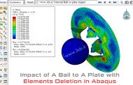 تحلیل برخورد توپ (گلوله) با صفحه در آباکوس - تکنیک حذف المان