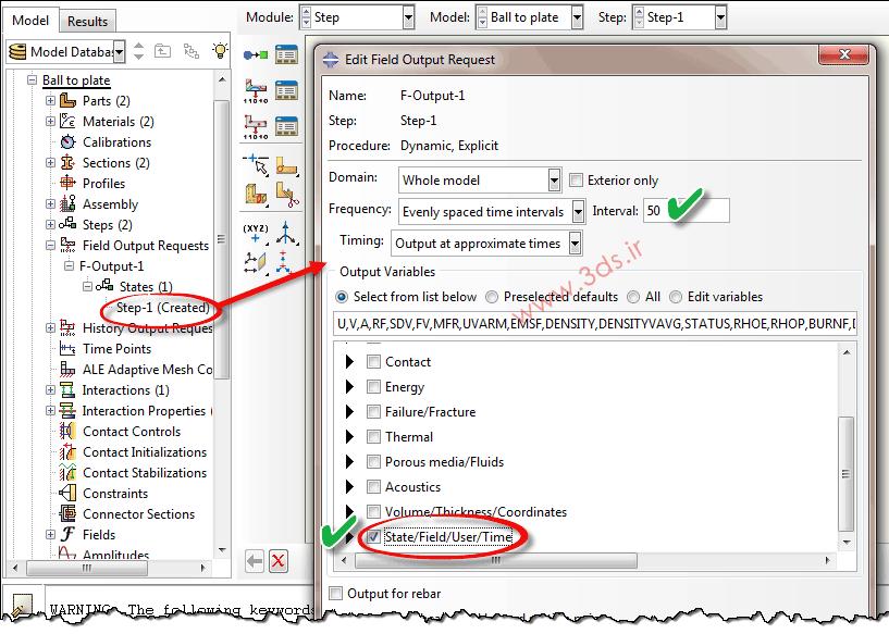 تنظیمات مربوط به حذف شدن المانها در آباکوس توسط Field Output و گزینه Status