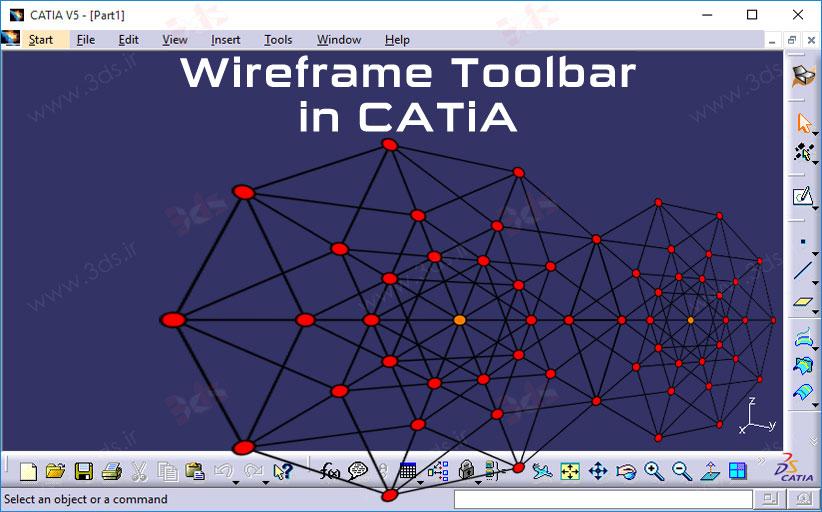 ترسیم المانهای Wireframe در فضای سهبعدی کتیا