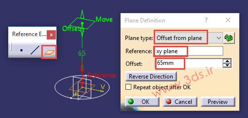 تنظیمات دستور Plane را از جعبهابزار Reference Elements کتیا