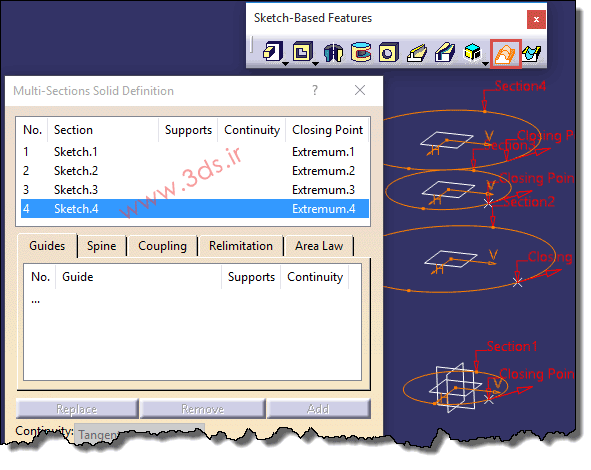 تنظیمات دستور Multi-Section Solid جعبهابزار Sketch-Based Features کتیا