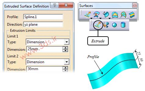دستور Extruded در محیط Generative Shape Design نرمافزار کتیا