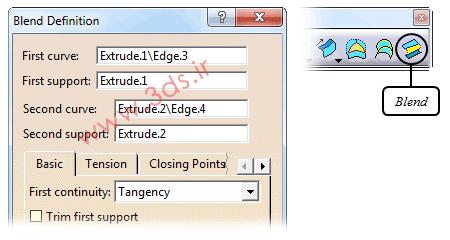 تنظیمات دستور Blend در محیط Generative Shape Design کتیا