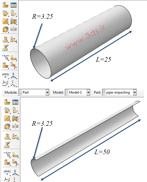 صورت مسئله تحلیل لوله در برخورد توسط آباکوس