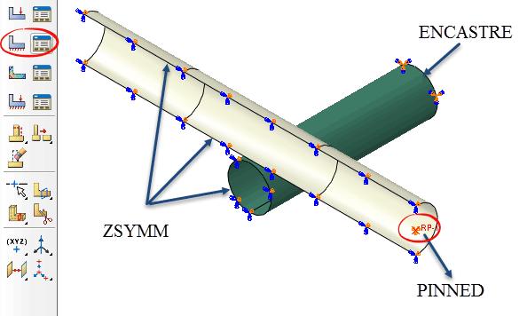 شرایط مرزی و قیود در تحلیل لوله در برخورد توسط آباکوس