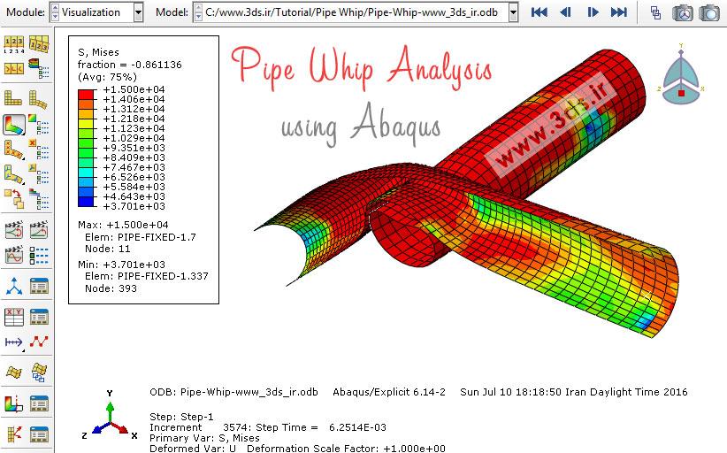 تحلیل لوله در برخورد توسط آباکوس